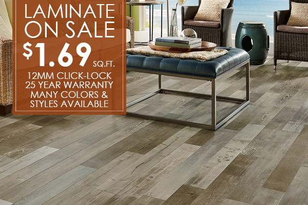 12mm Click-Lock Laminate on sale now starting at only $1.69 Sq. Ft. - With an array of colors to choose from and a 25 year warranty, it'll be a perfect fit for any home! Come visit our showroom in Antioch, California!