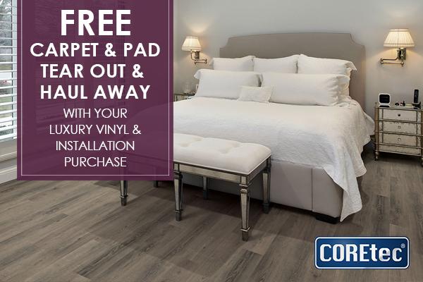 Coretec 174 Luxury Vinyl Sale Free Carpet Amp Pad Tear Out W